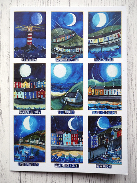 Illustrated moon cycle card.