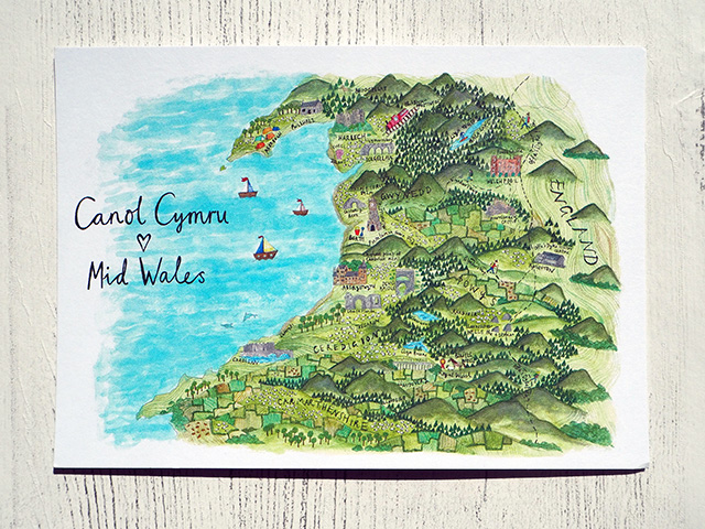 Map postcard showing Mid Wales by Sophia Shaw.