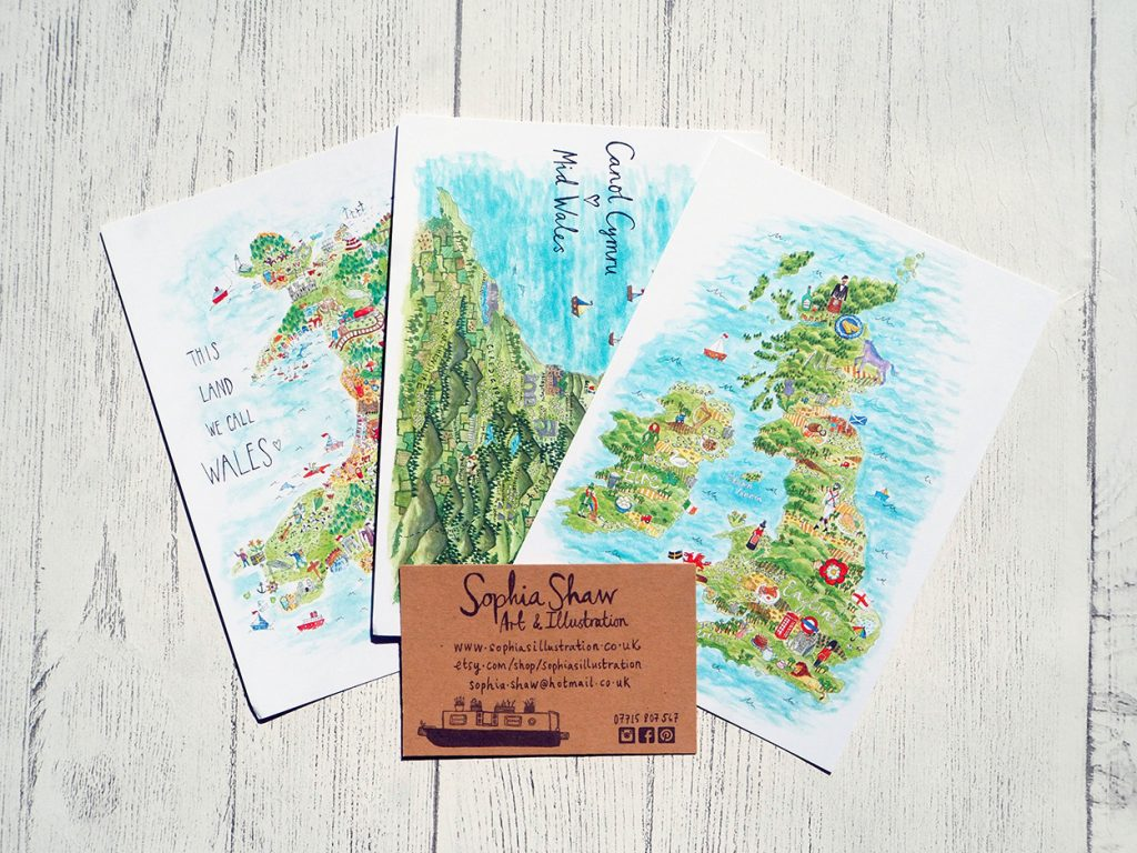 Map Postcards by Sophia Shaw
