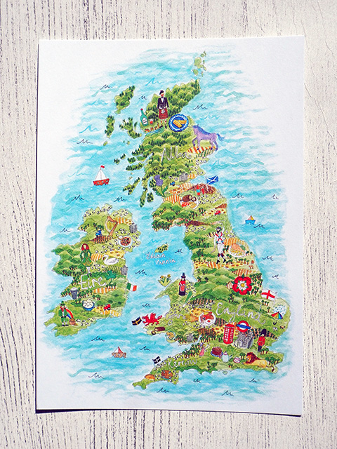 Map postcard showing the UK by Sophia Shaw.