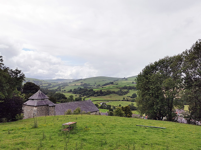 St Cynllo's Church, with views down the Ithon valley.