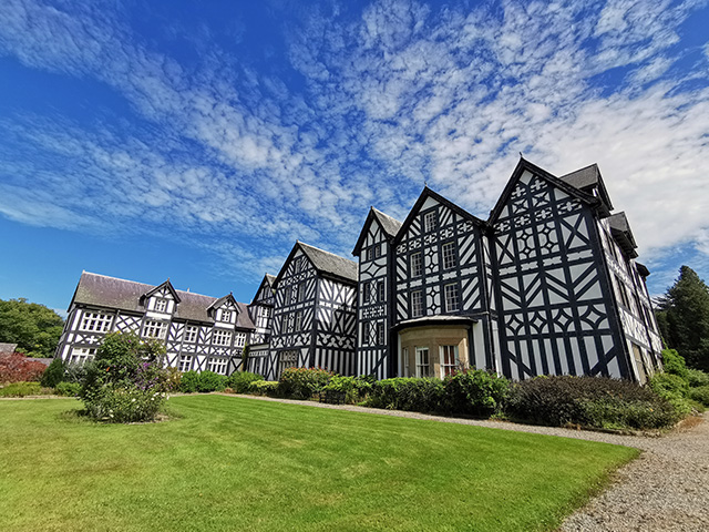 A rear view of Gregynog Hall.