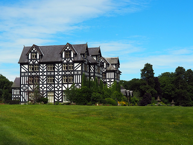 A side view of Gregynog Hall.