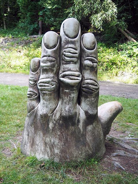 Hand sculpture.
