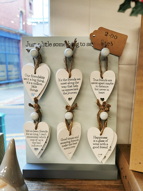 Wooden heart tags.