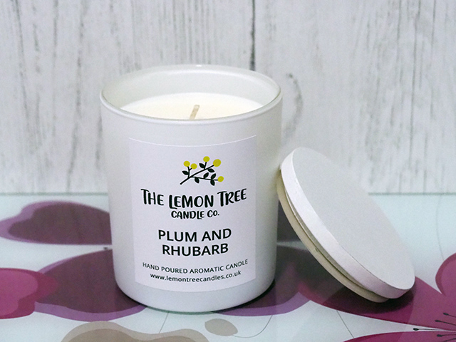 The Lemon Tree Candle Co. Plum and Rhubarb Large Candle (220g) in White.
