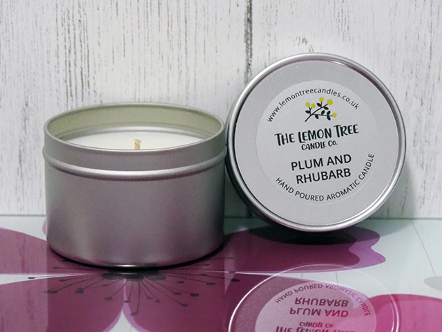 The Lemon Tree Candle Co. Plum and Rhubarb Candle in a Tin.