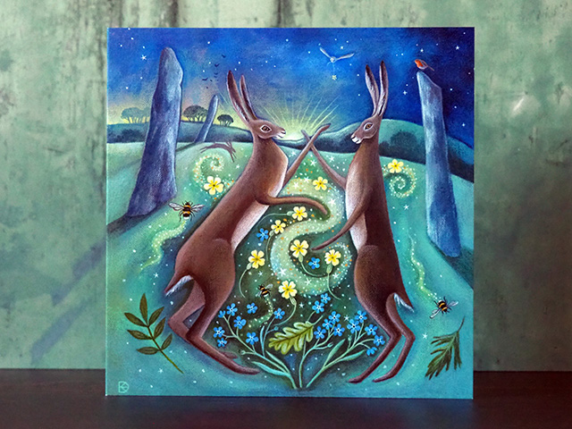 Stone, Scent and Spirit - Magical Hares Greeting Card.