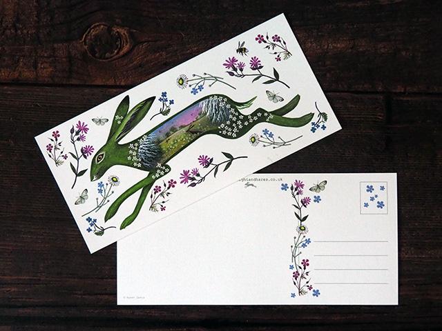Floral Spring Hare Postcards x 6.