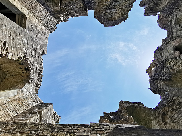 Looking up in Hopton Castle.