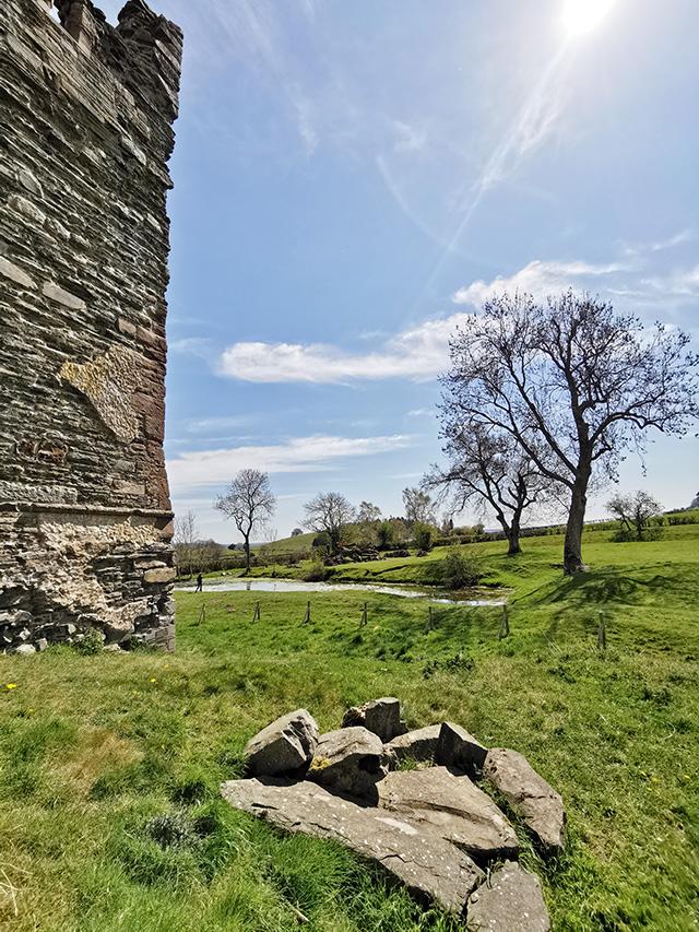 Stone rubble outside Hopton Castle.
