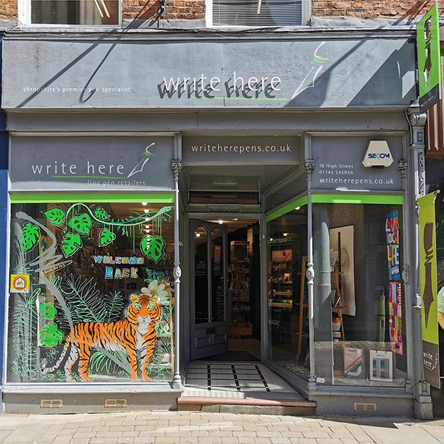 The Write Here shopfront in Shrewsbury.