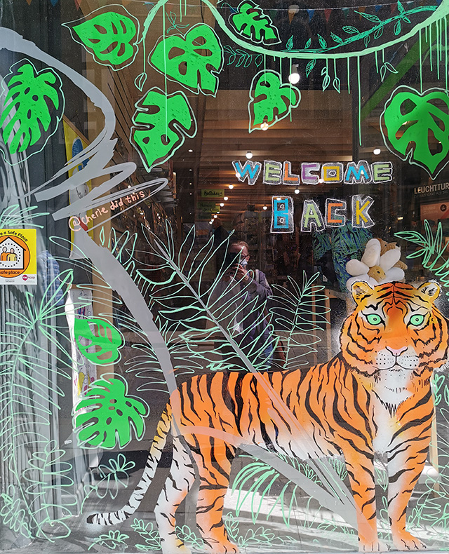 The decorated shop window at Write Here in Shrewsbury.