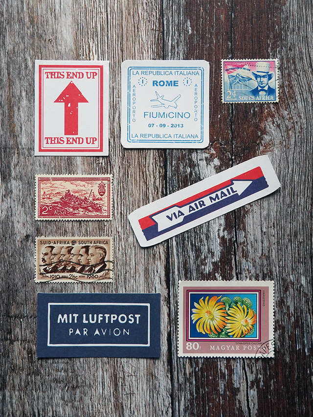 Stickers and used stamps.