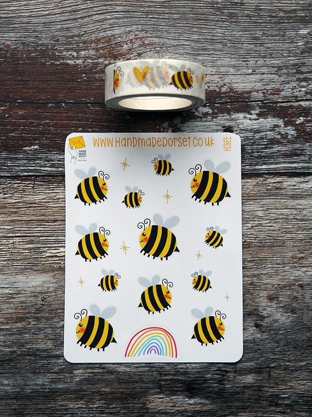 Cute Bee Stickers & Washi Tape