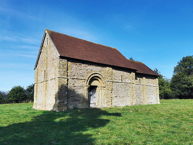 Heath Chapel, sat in the middle of an otherwise empty field.