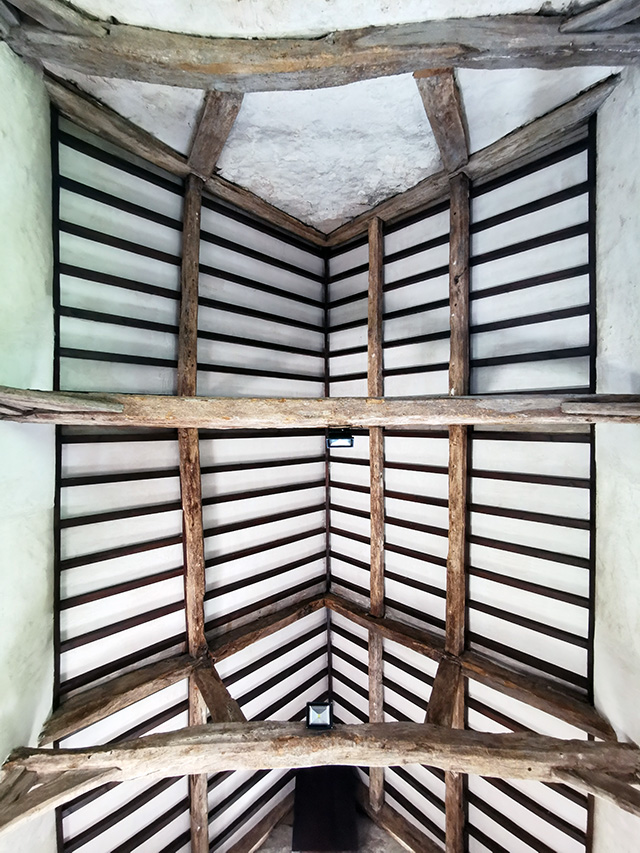 The timbered roof of the chapel.